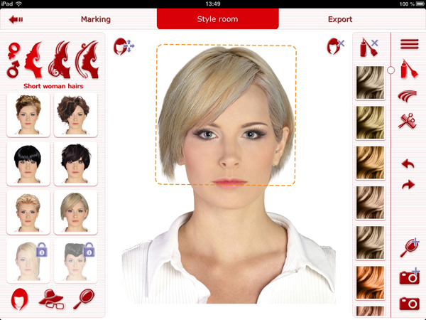 selection of hairstyles and coloring
